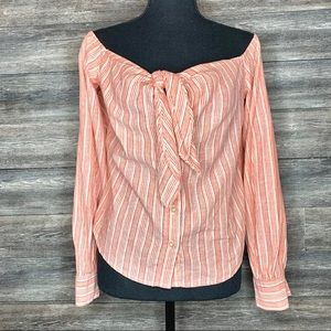 Free People Off-Shoulder Button Down Blouse